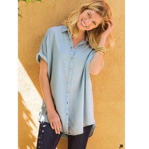 Soft Surroundings Blue Je Veux Tencel Top Size M